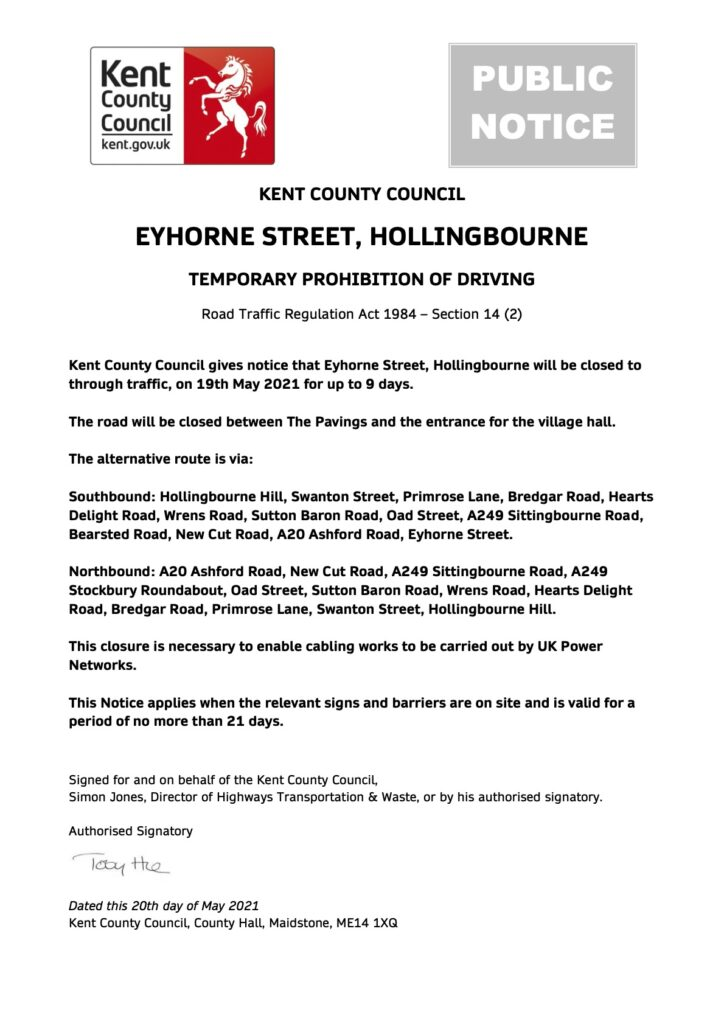 Public Notice Eyhorne Street